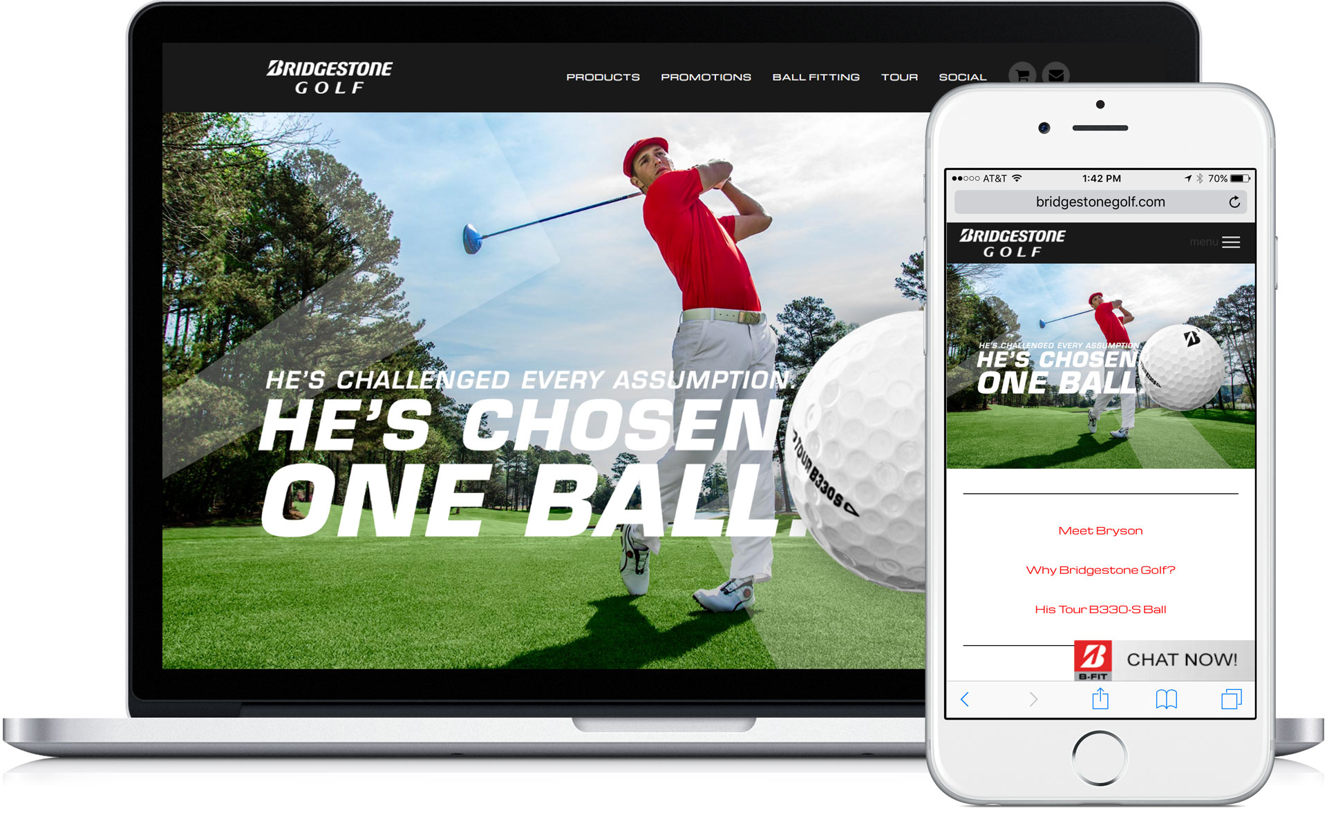 Bridgestone Golf Mobile Responsive Website Landing Page