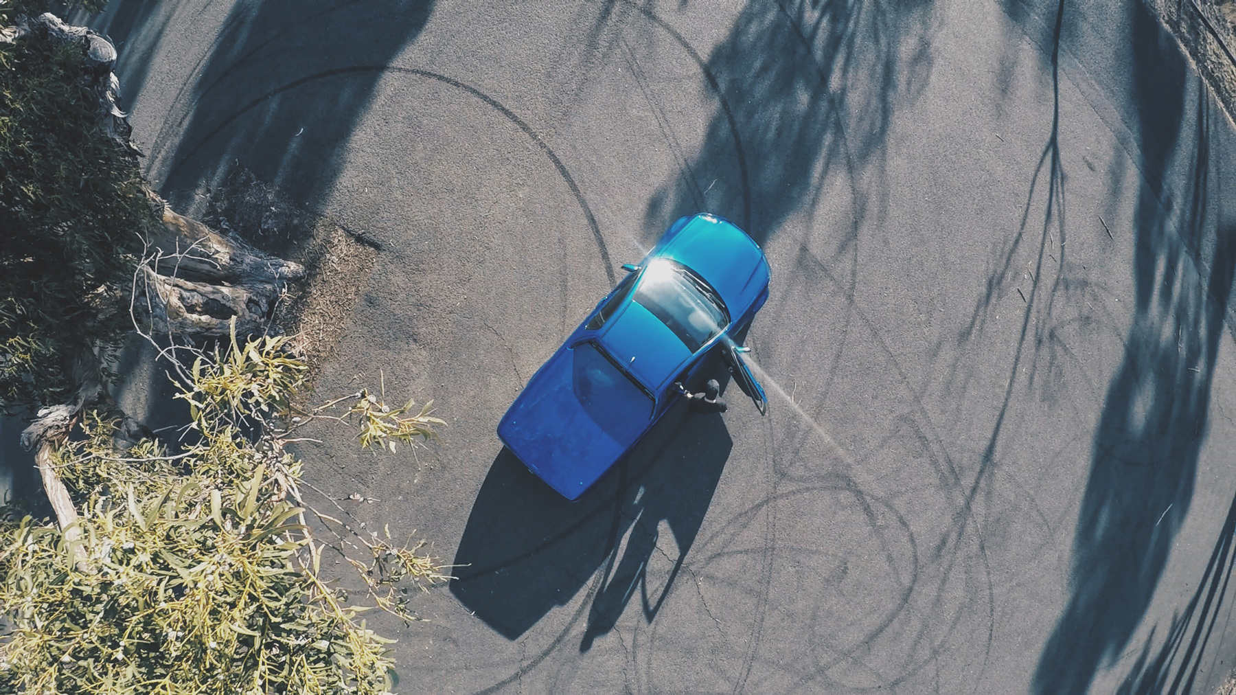 top down shot above car