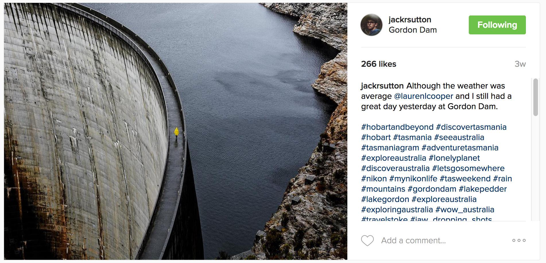 Shot by @jackrsutton overlooking the Gordon Dam