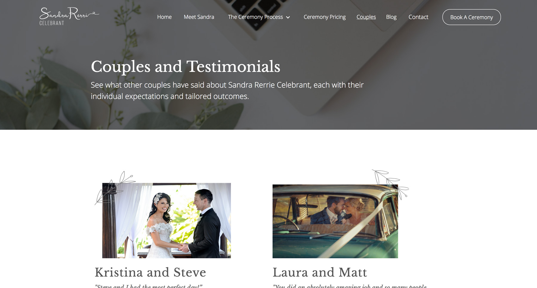 couples and testimonial page of SRC website