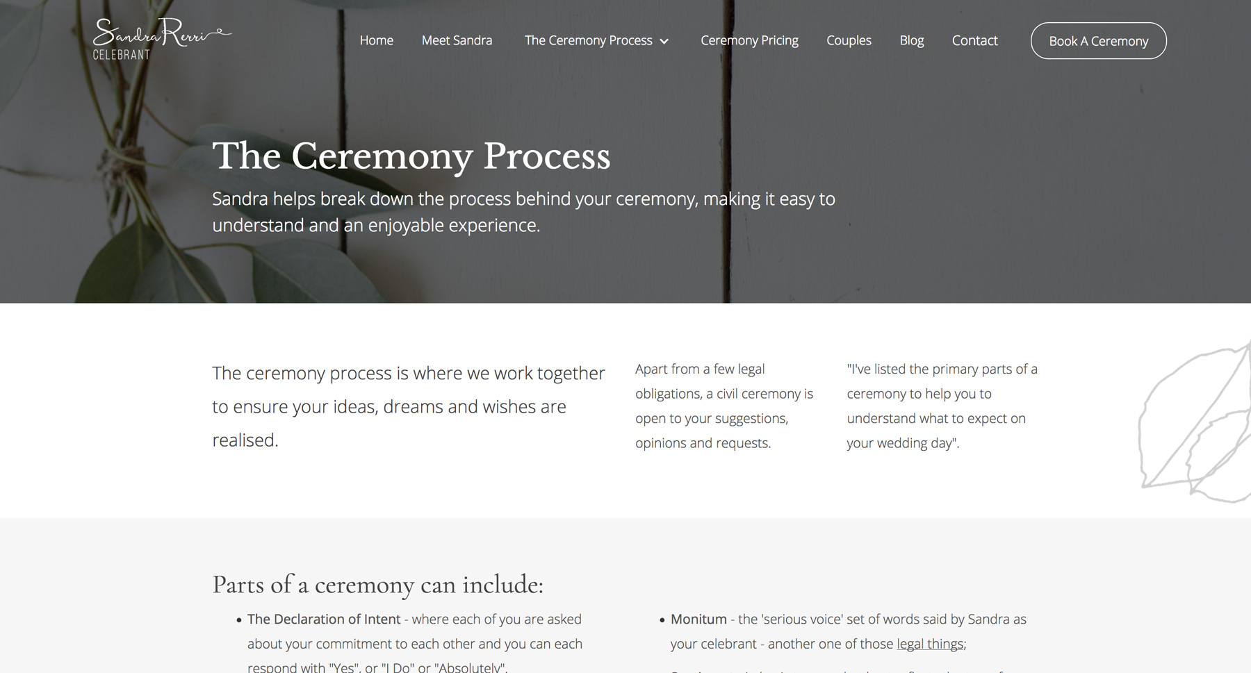 ceremony process page of SRC website