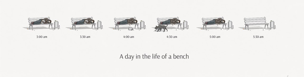 A day in the life of a park bench.