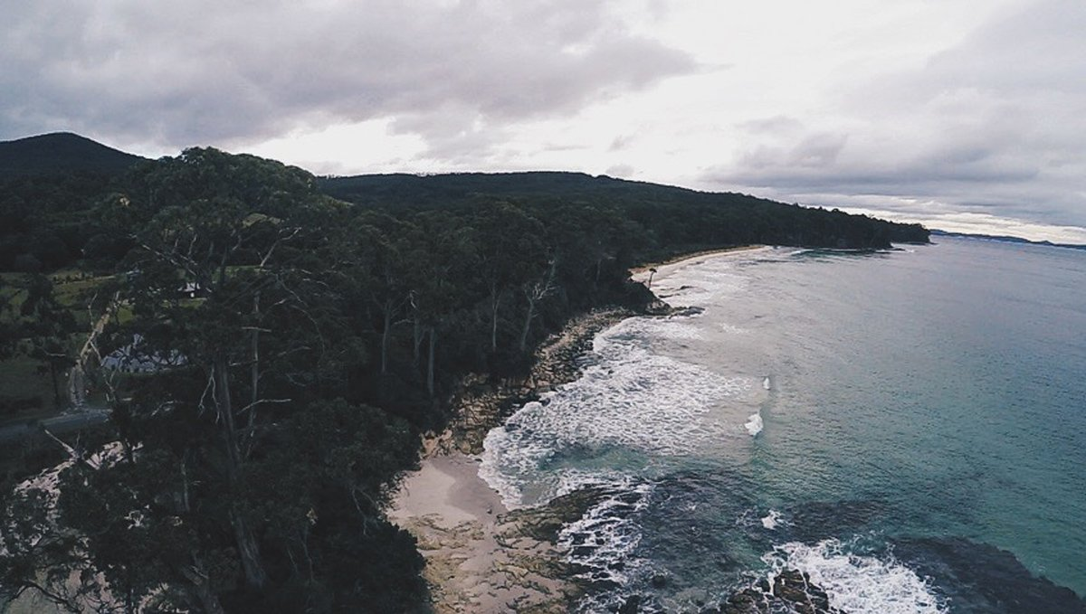 drone shot overlooking adventure baby
