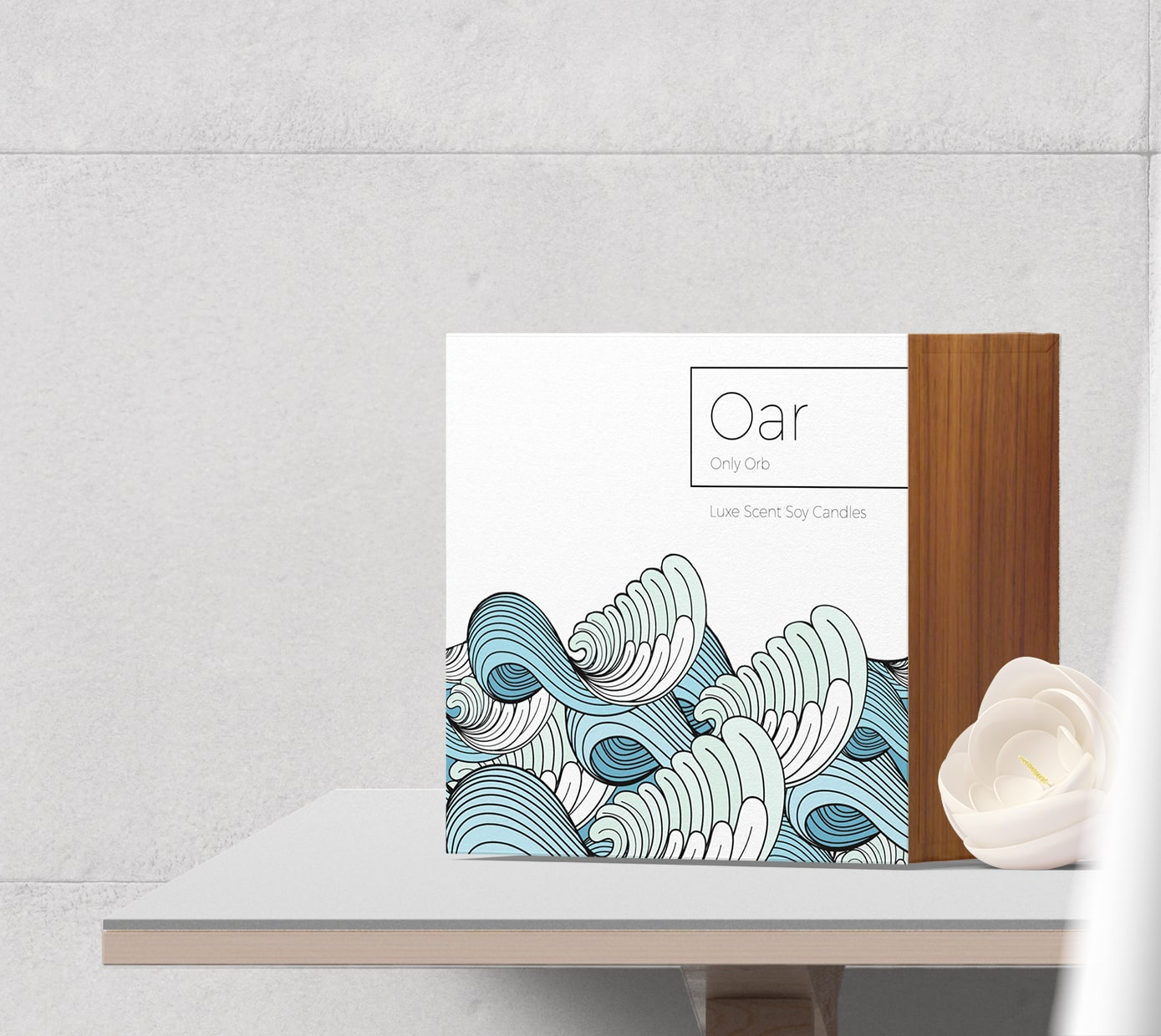 Box visualisation with waves for Oar candle