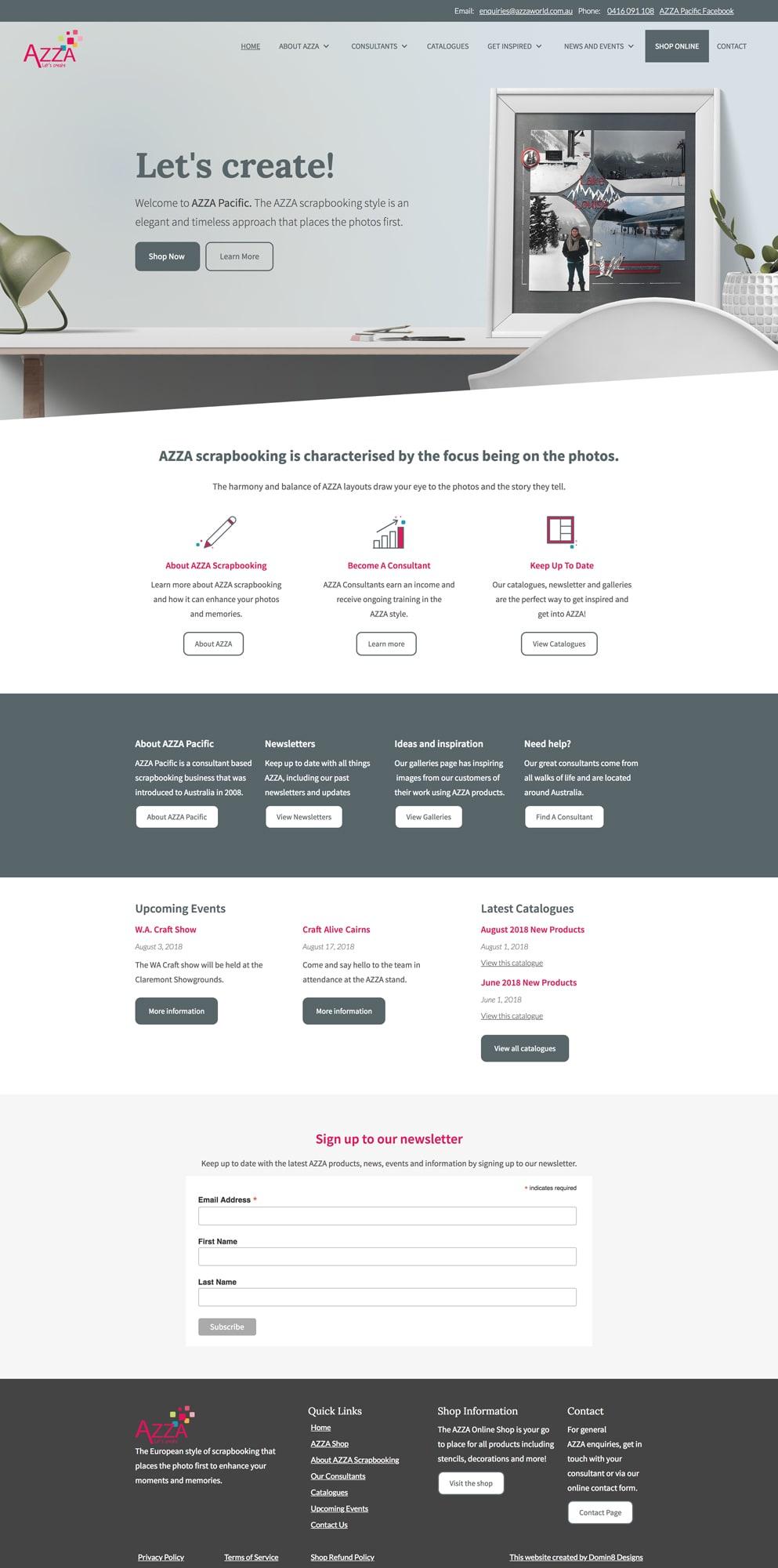 Full layout of the AZZA website