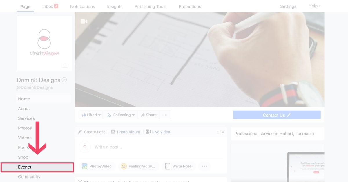 screenshot of a facebook page highlighting events tab