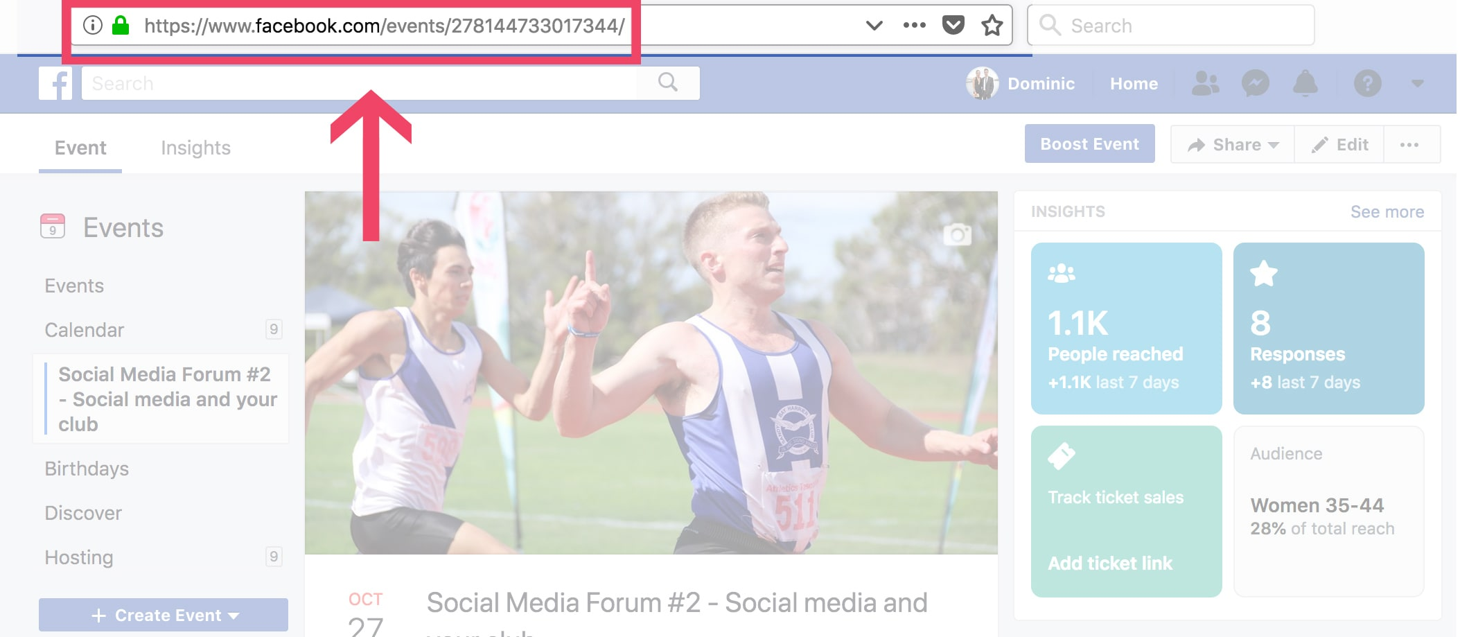 screenshot showing which link to copy for event sharing