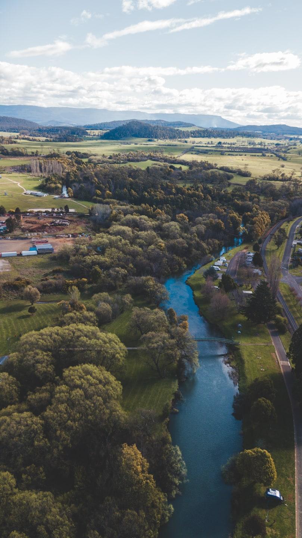 drone shot over deloraine, tasmania