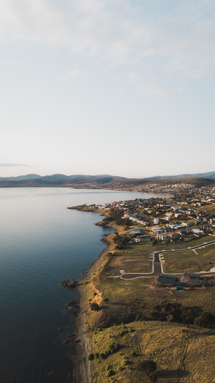 drone shot over hobart's eastern shore