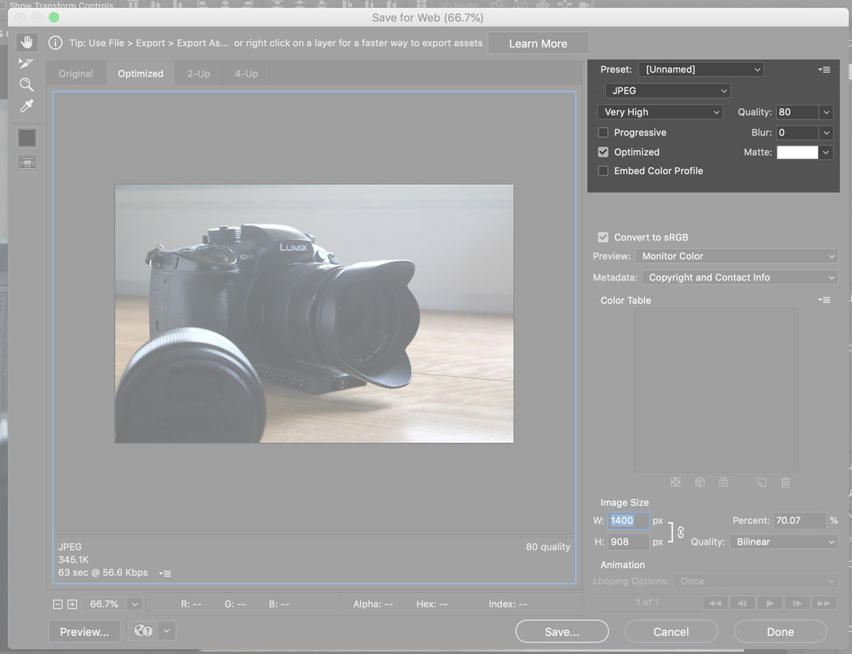 Screen grab of photoshop save for web highlighting type and quality