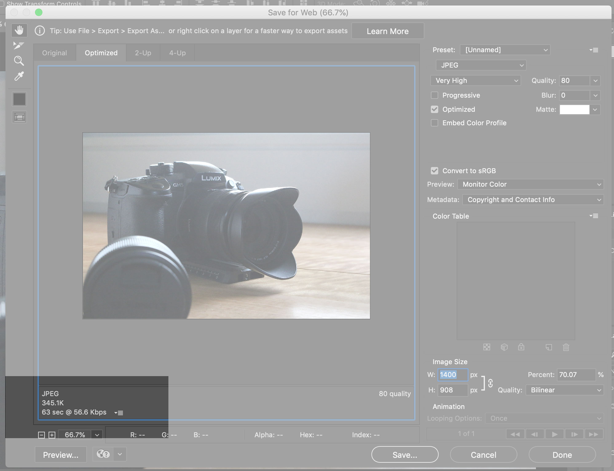 Screen grab of photoshop save for web highlighting size
