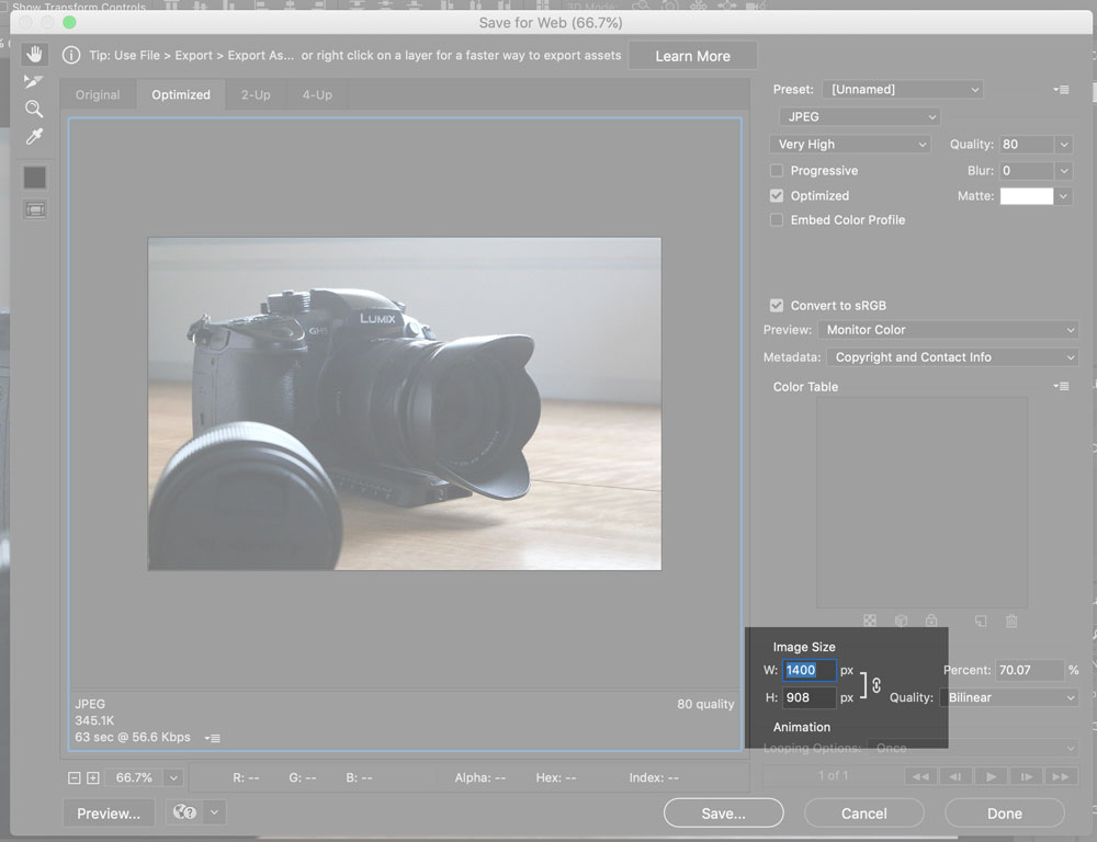 Screen grab of photoshop save for web highlighting dimensions