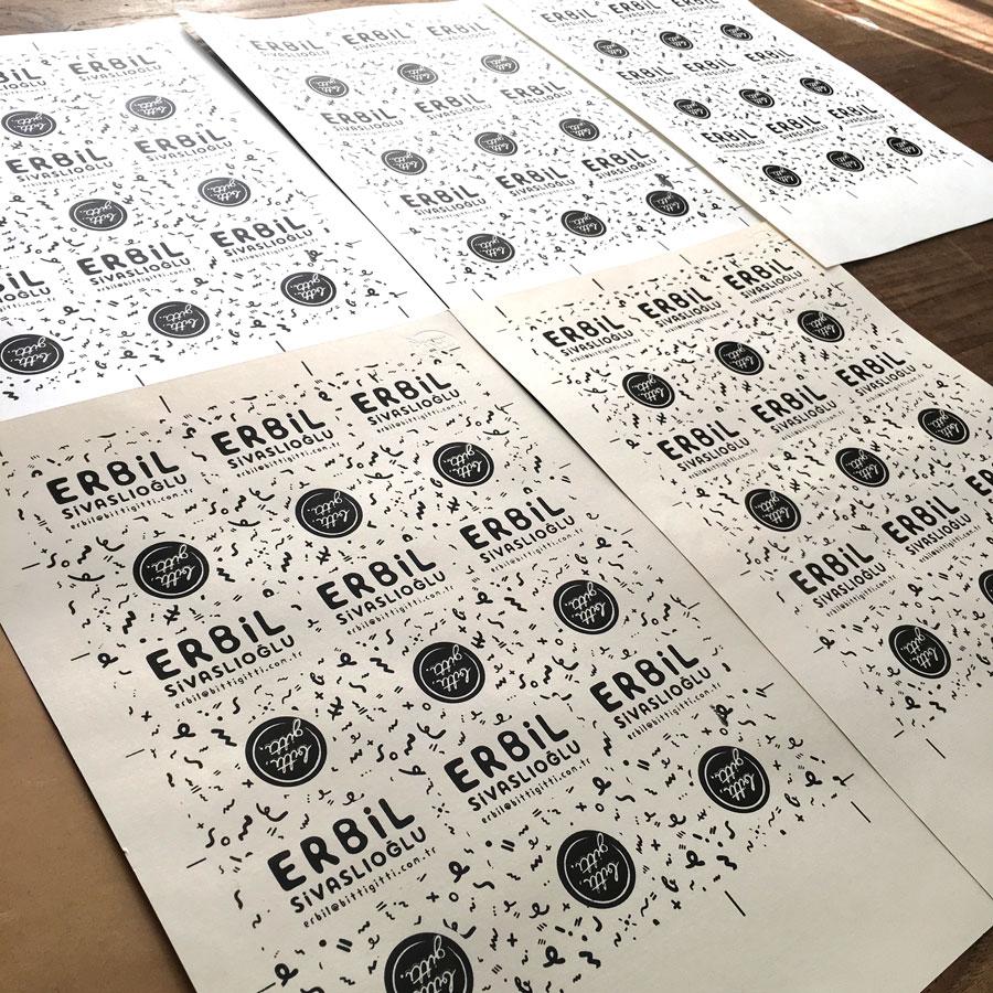 Farklı dokulu kağıtlara kartvizit baskısı