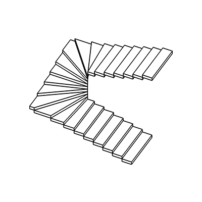 Двух маршевая бетонная лестница с забежными ступенями на разворотной площадке