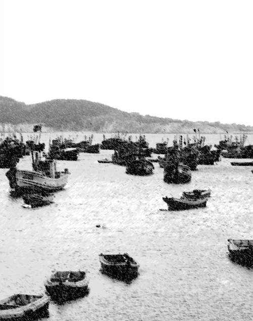 Photo of fishing boats at Wei Hai Wei in the Shandong Province of China from around 1920.