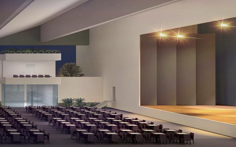 Casa de shows, imagem interna com vista para o palco