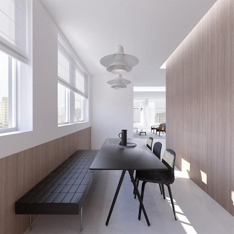 Projeto de reforma de apartamento no bairro Higienópolis, São Paulo. Design de Interiores da sala de jantar.