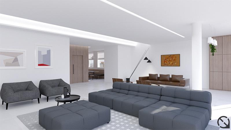 Projeto de reforma de apartamento no bairro Higienópolis, São Paulo. Design de Interiores da sala de estar.