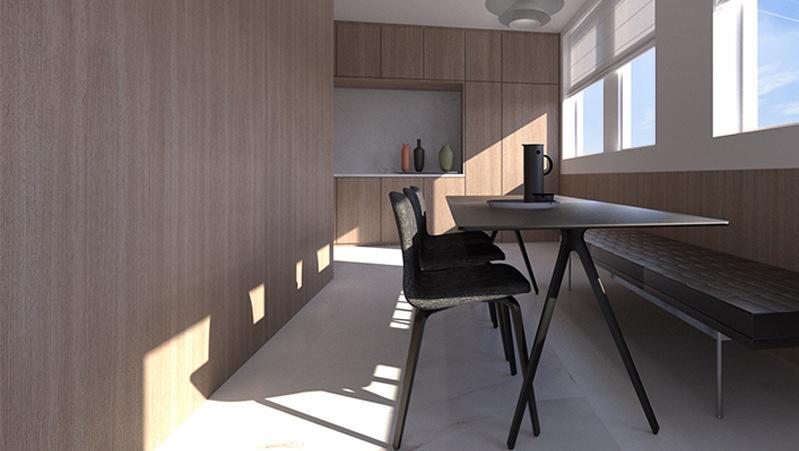 Projeto de reforma de apartamento no bairro Higienópolis, São Paulo. Design de Interiores da sala de jantar integrada com a cozinha.