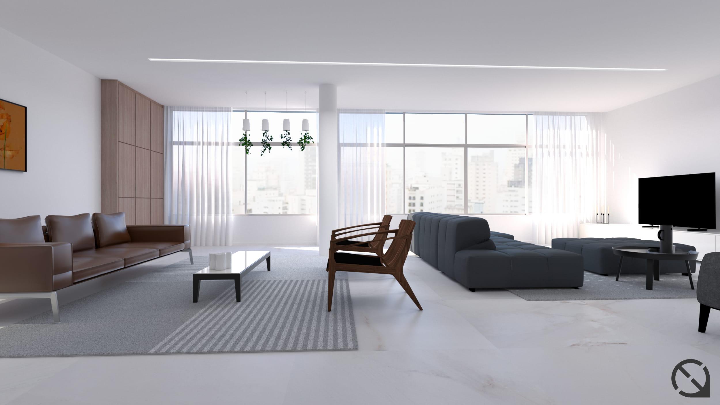 Sala de estar de apartamento no bairro Higienópolis em São Paulo