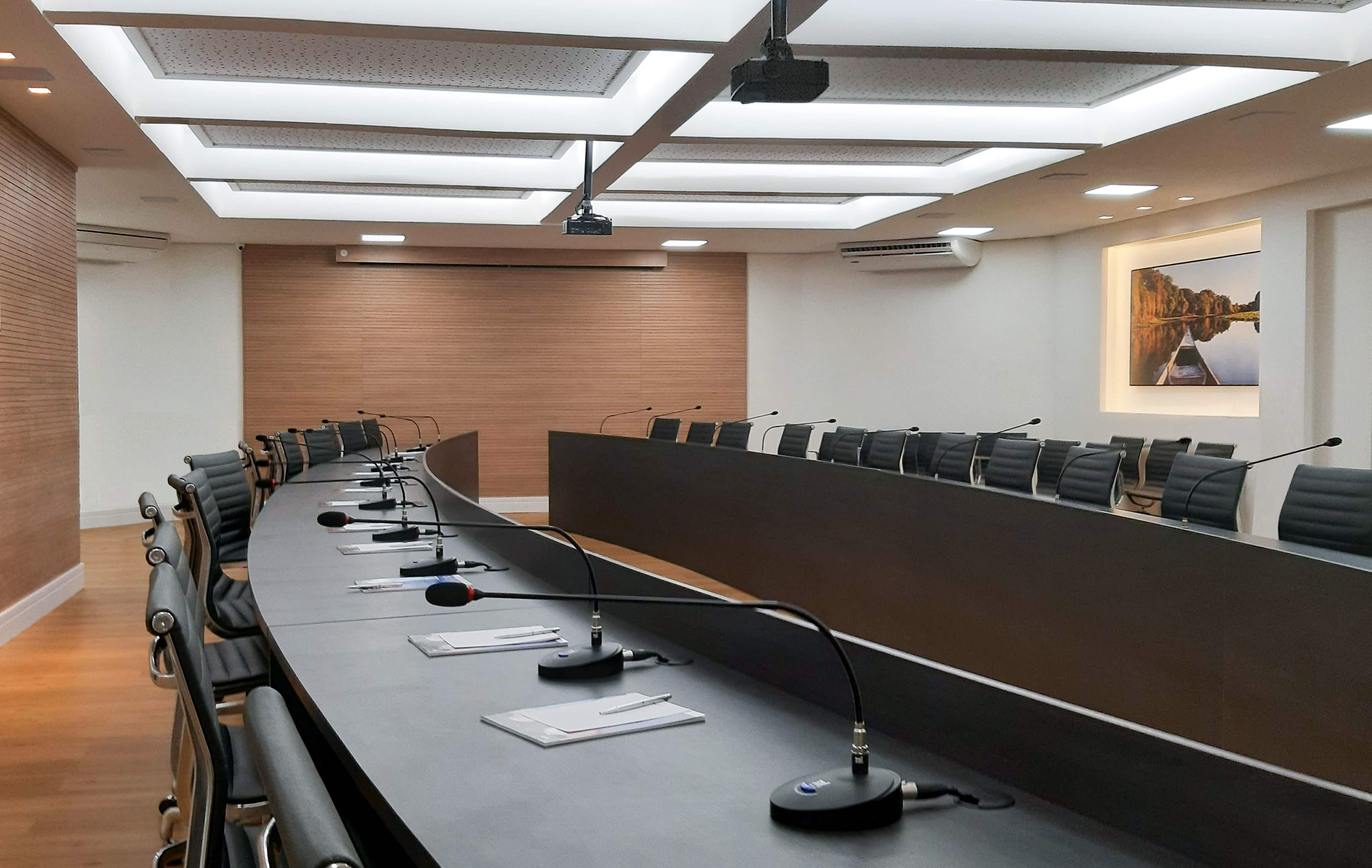 Sala de conferência da sede da Fecomércio-MT.