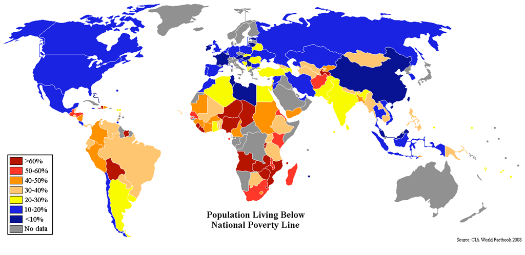 Population living below their national poverty line (worldwide)