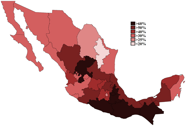 Mexican states by poverty rates in 2010