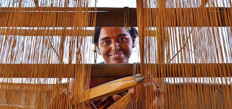 Indian women entrepreneurs weaving