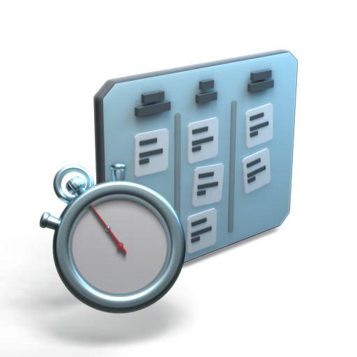 A stopwatch and kanban 3D icon