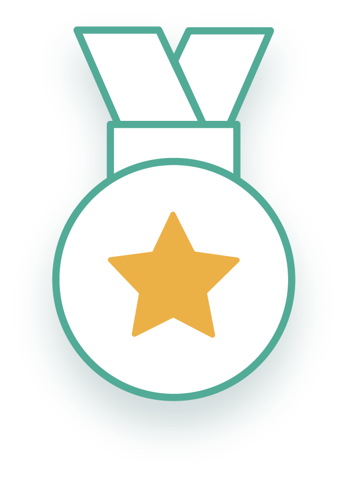 An icon of a award given for compliance earned