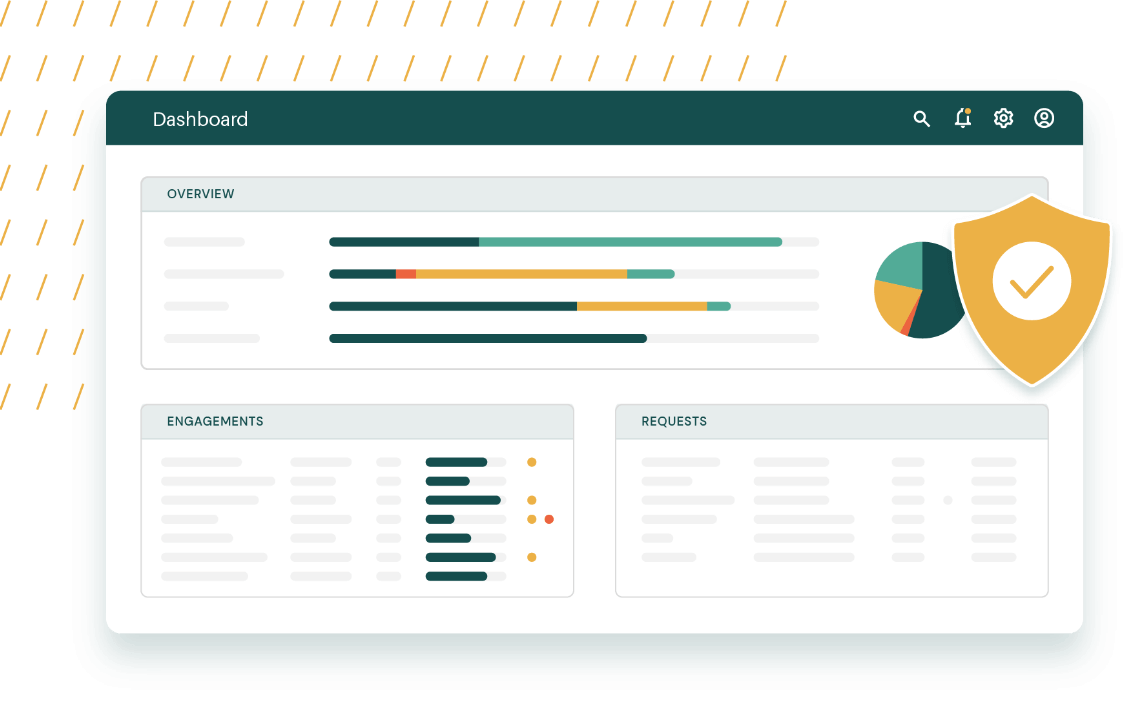 A product illustration of the dashboard overview in AuditDashboard