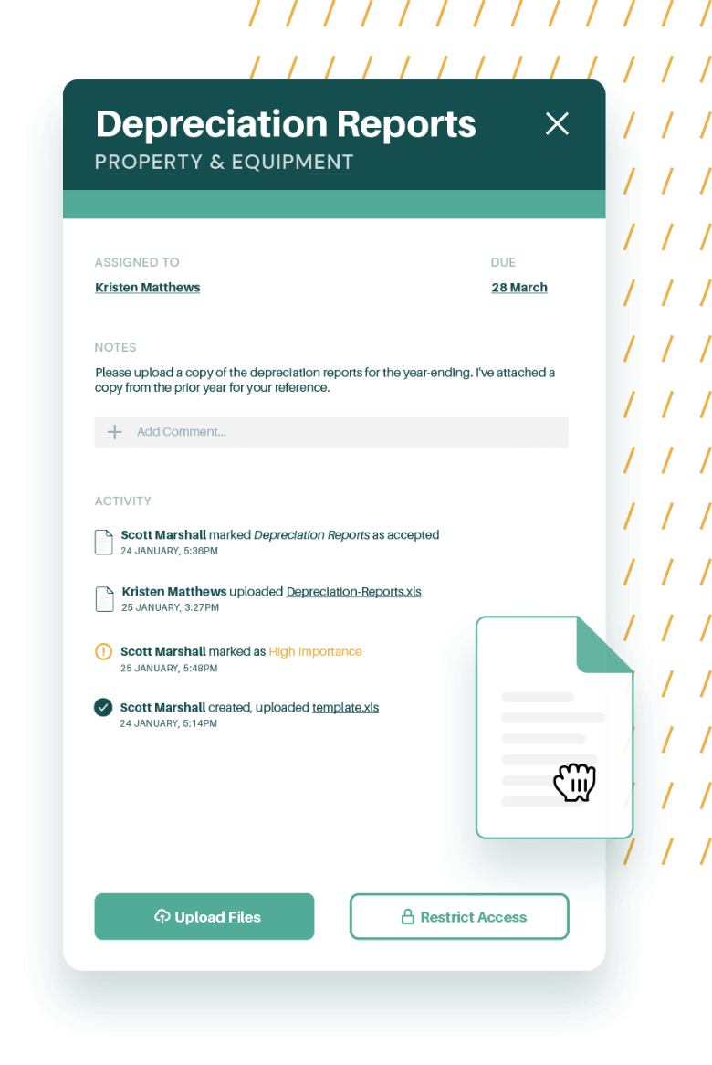 A product illustration of a document being uploaded via the right-hand navigation in AuditDashboard
