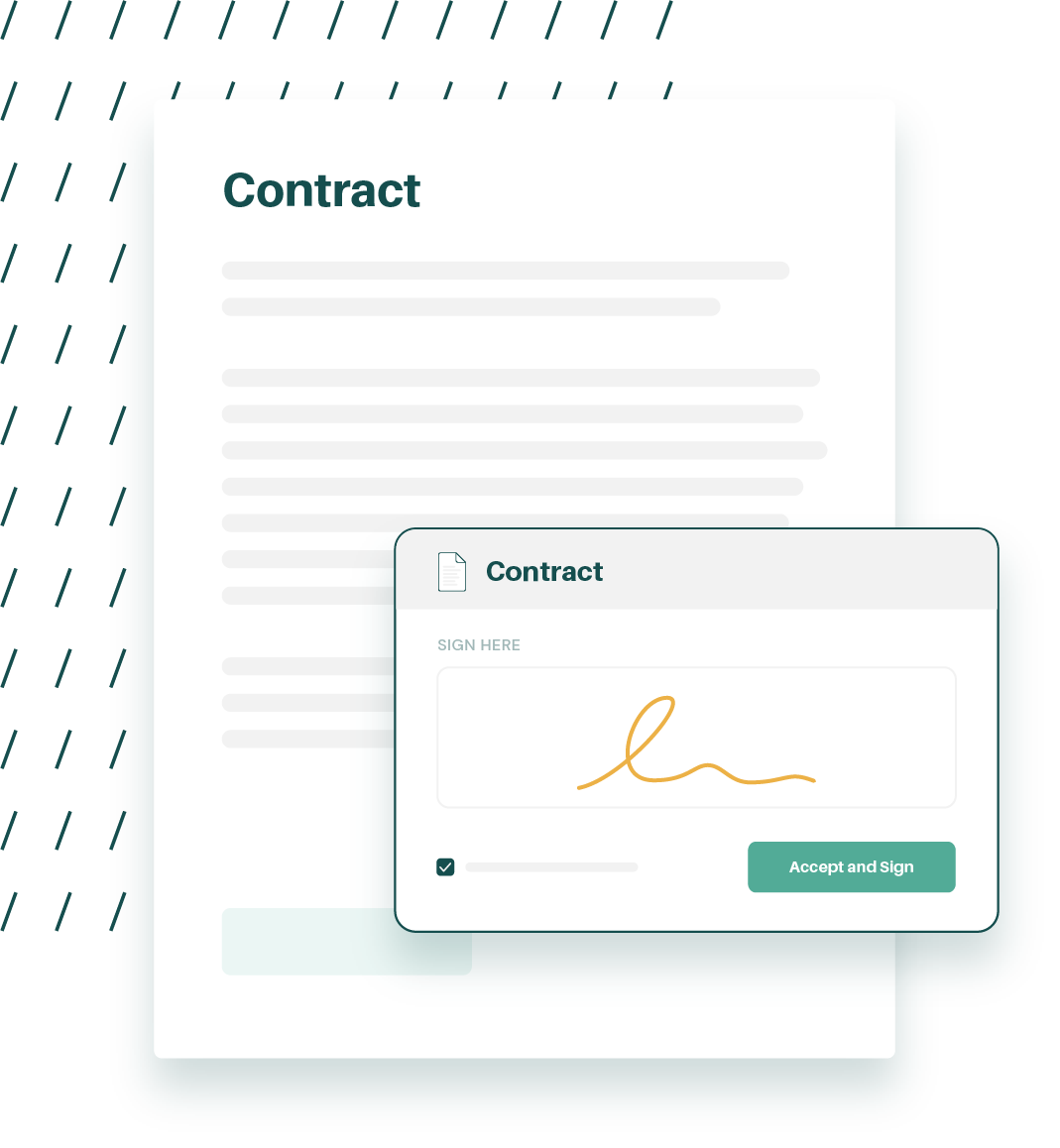 An illustration of a contract getting electronically signed