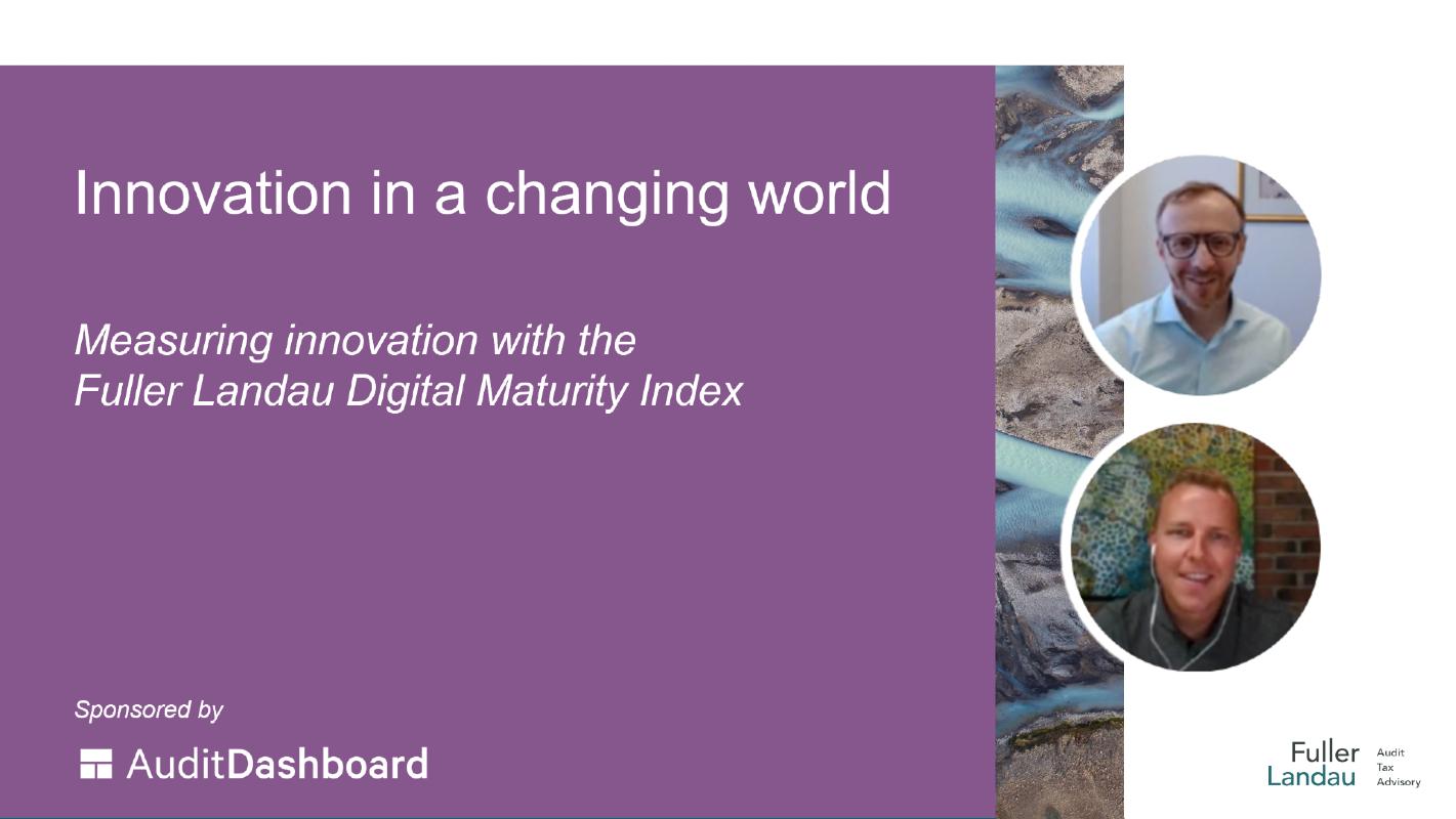 Webinar cover: Measuring innovation with the Fuller Landau Digital Maturity Index