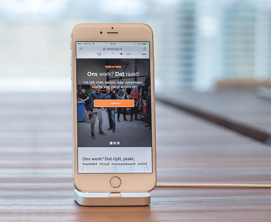Repsonsive website voor nieuwe website van Free-D-Sign uit Warmenhuizen.