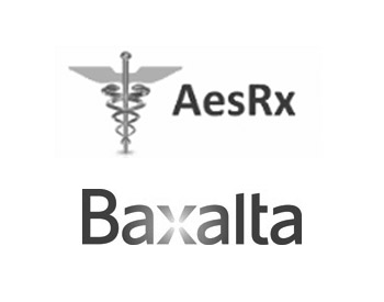 AesRx Logo and Baxalta Logo