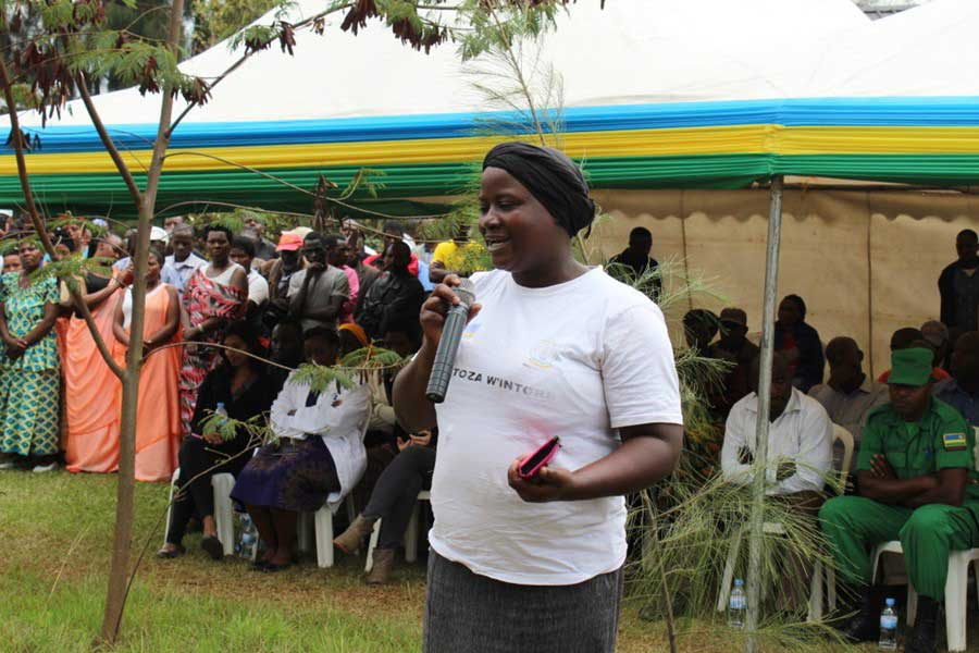 Cancer patient, Laurence Cyiza Tuyisenge gives testimony at the groundbreaking of the Butaro Cancer Patient Support Center in Rwanda.