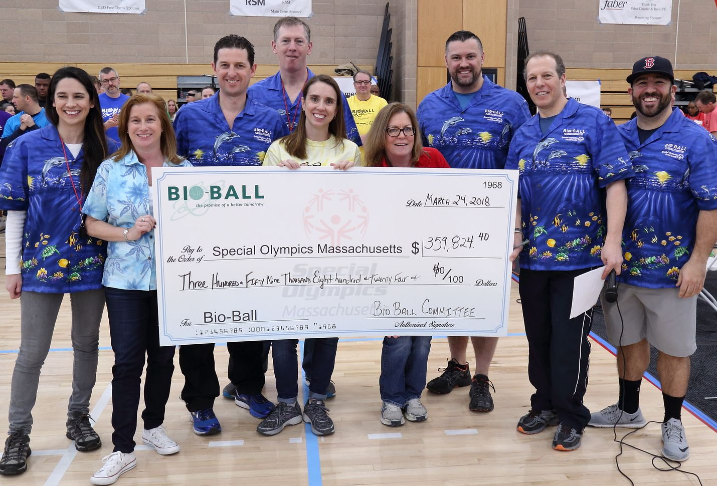 Big Check. This year's Bio-Ball broke previous fundraising records.