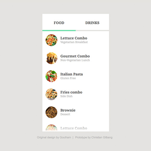 Image of Restaurant Menu Prototype by Christian Gilbang