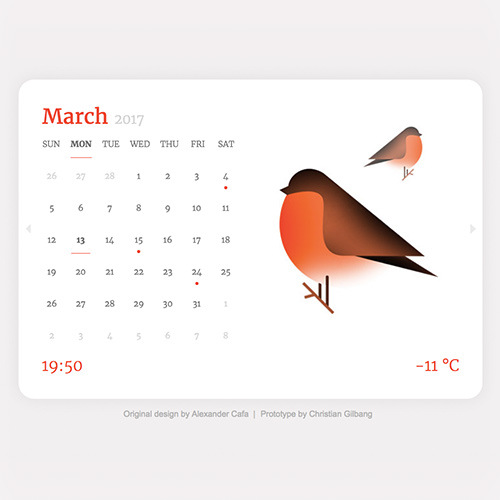 Calendar Prototype by Christian Gilbang