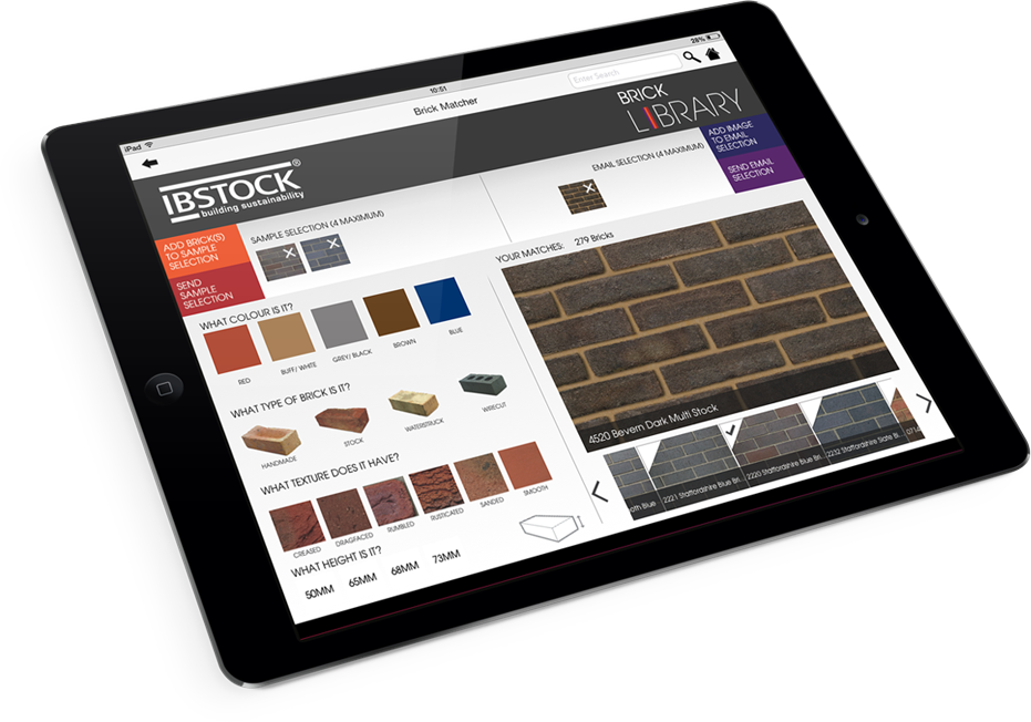 Ibstock brick matcher in iPad