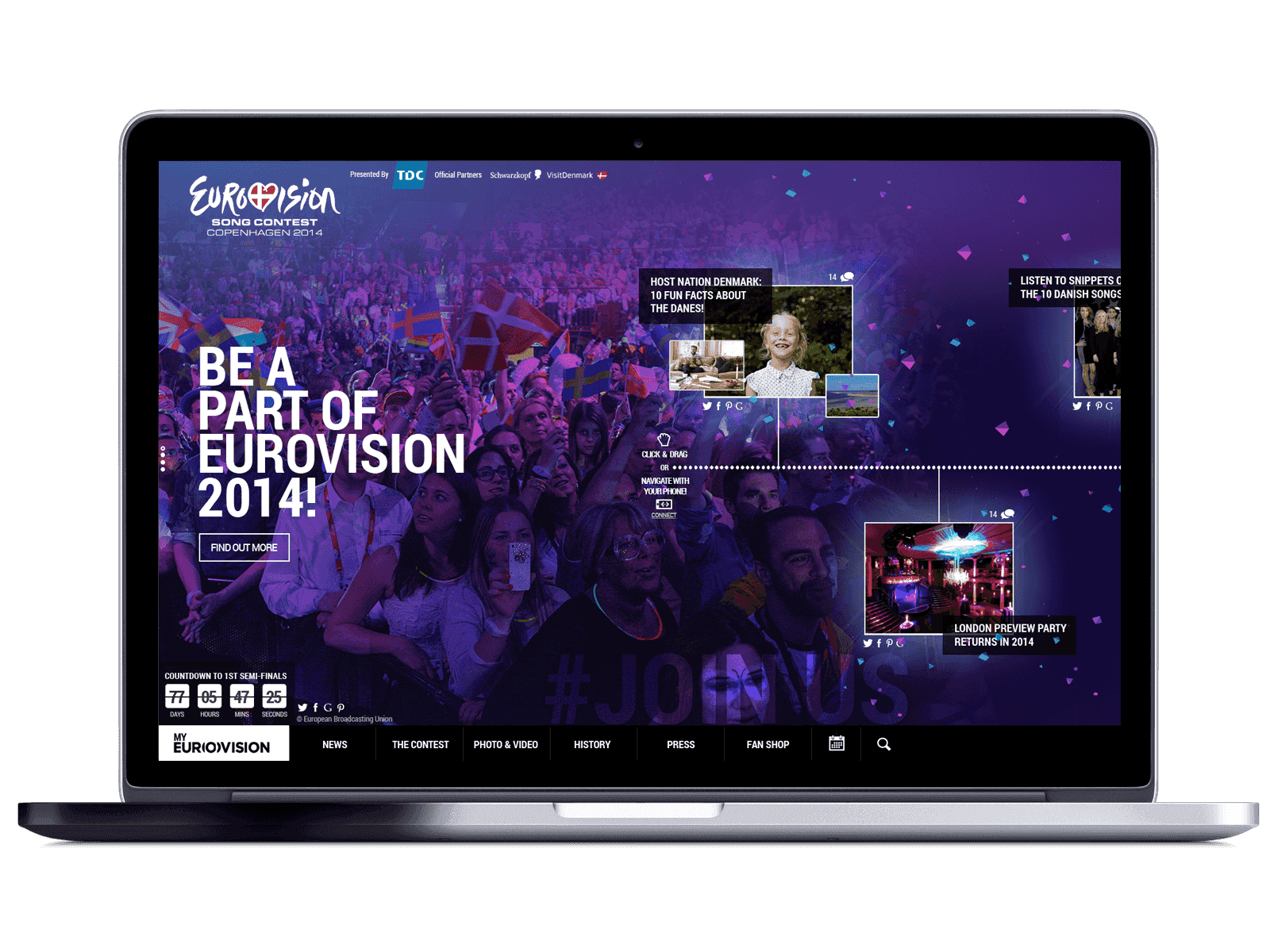 Eurovision main page in mac