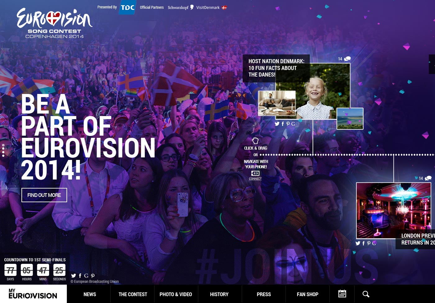 Eurovision Song Contest homepage screen grab