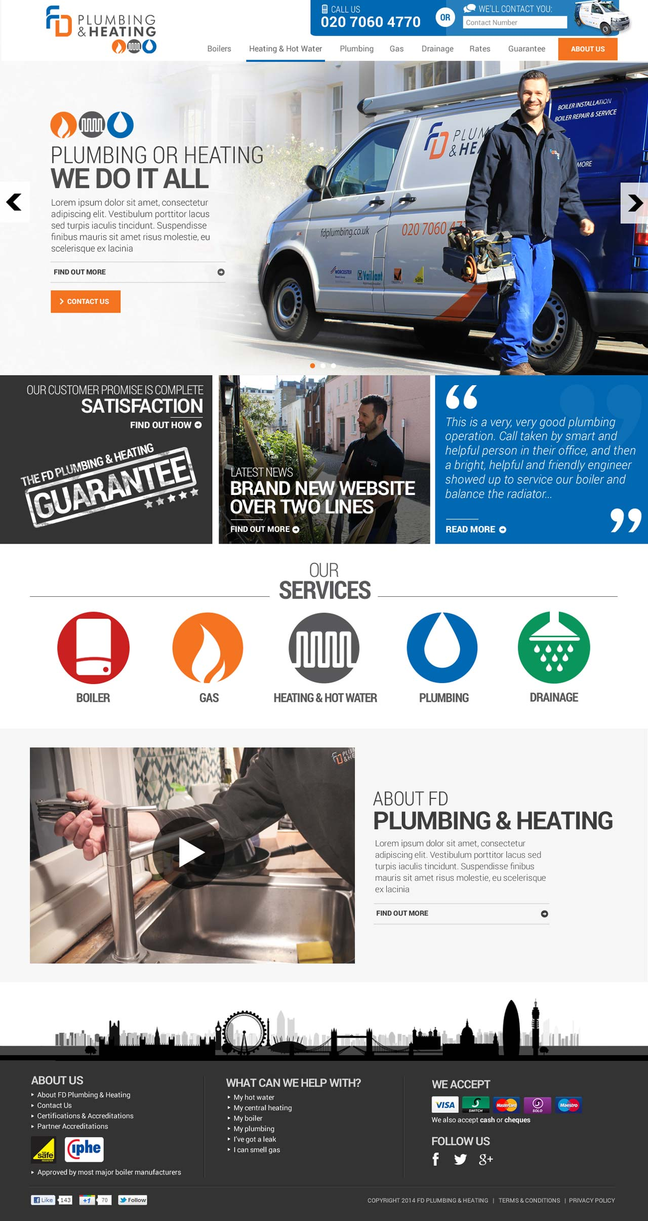 FD Plumbing and Heating Homepage screengrab