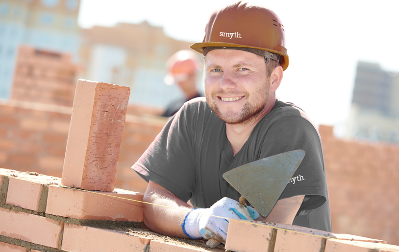 Smyth Brickwork bricklayer happy at his work