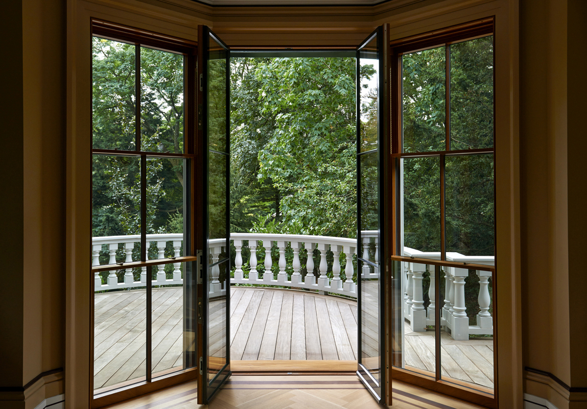 Boston Architects BUTZ + KLUG architecture, Brookline Renovation french doors, tripple-hung windows