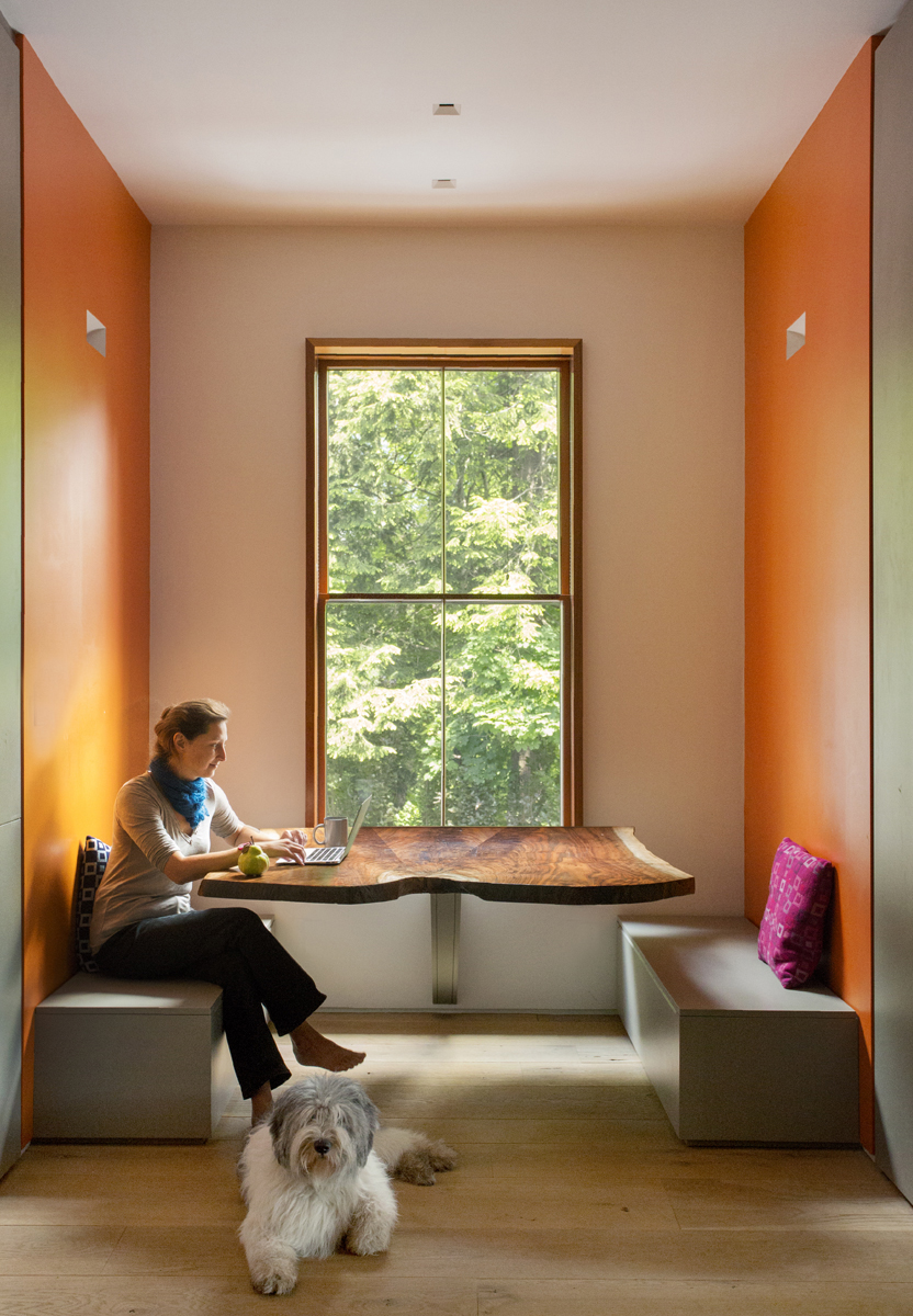 Boston Architects BUTZ + KLUG architecture, Brookline Ren, Brookline Renovation, walnut crotch table