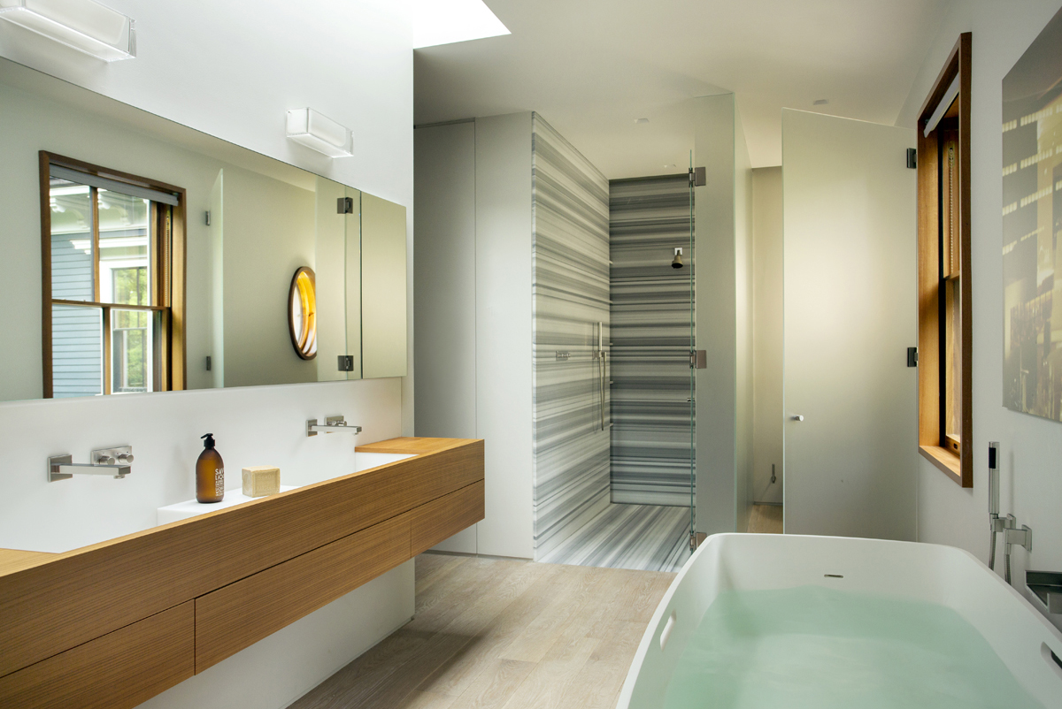 Boston Architect BUTZ + KLUG, Brookline Modern Renovation, Bath, linac marble