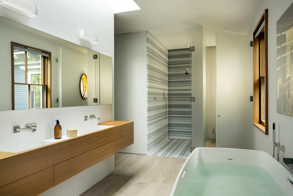 Boston Architect BUTZ + KLUG, Brookline Modern Renovation, Bath, linac marble