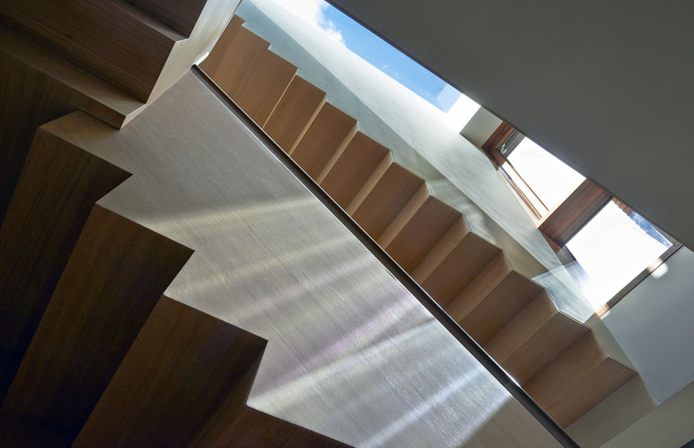 architectural wood, Escher stair, Beacon Hill renovation, energy efficient